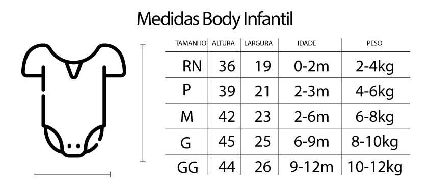 Medidas Body Infantil - Body Infantil Bixiga - São Paulo