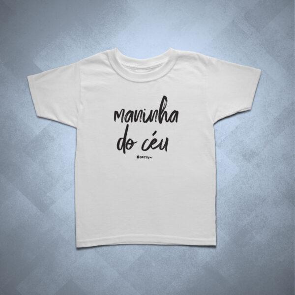 camiseta infantil maninha do céu